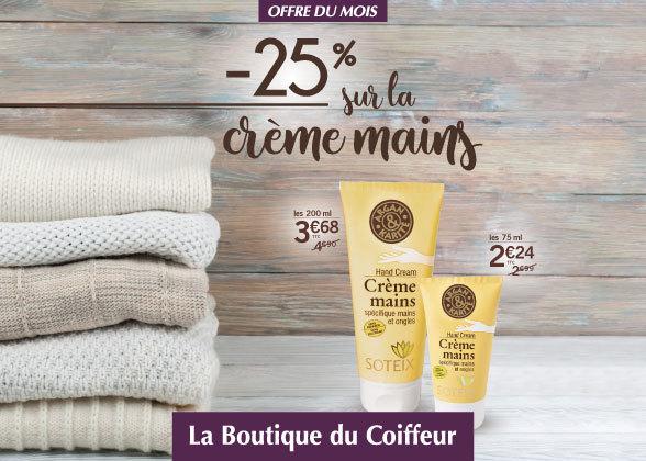 -25% sur les Crèmes Mains !