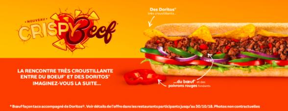 nouveauté crispy beef chez Subway à Terre Ciel à Chelles