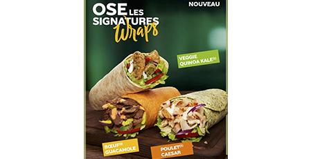 Découvrez les 3 nouvelles recettes signatures Wraps dès le 5 juin. Poulet Caesar, Boeuf Guacamole et Veggie Quinoa Kale, miam ! à Terre Ciel à Chelles