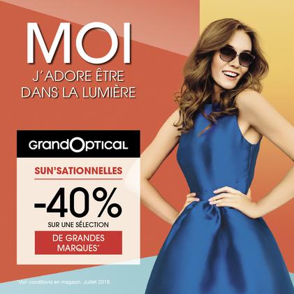 promotion -40% sur une sélection de grandes marques chez GrandOptical à Bercy 2
