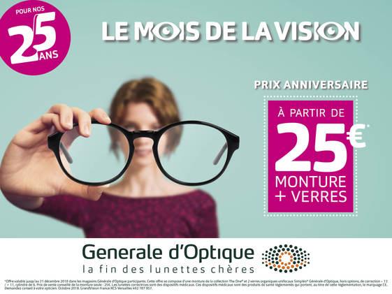 Offres du mois anniversaire chez Générale d'Optique à Bercy 2
