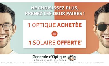1 optique achetée = 1 solaire offerte chez Générale d'optique à Terre Ciel à Chelles