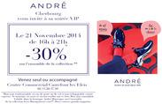 André soldes soirée privée réduction chaussures centre commercial Les Eleis Cherbourg